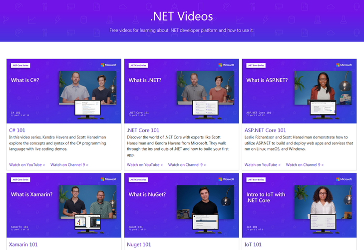 Introductory videos for .NET coders, from Microsoft - .NET, C#, Visual Studio and more!
